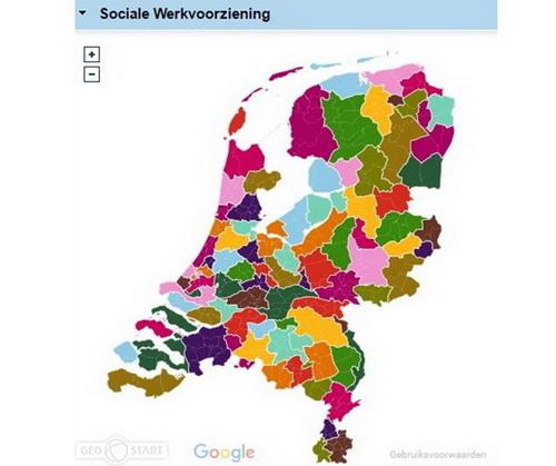 Sociale werkvoorziening Ned kaart
